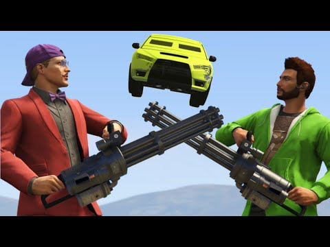 CRAZY MINIGUN DEFENSE DUEL! (GTA 5 Funny Moments)