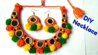 DIY pom pom Necklace / Navratri Special Ornaments/ Jewellery/Handmade Best out of waste.
