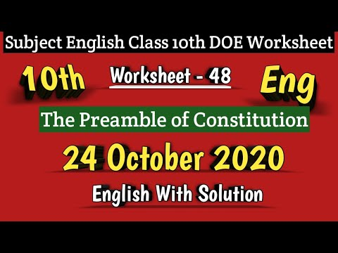Class 10 Worksheet 48 English I DOE Worksheet 48 I 24 Oct 2020 I English