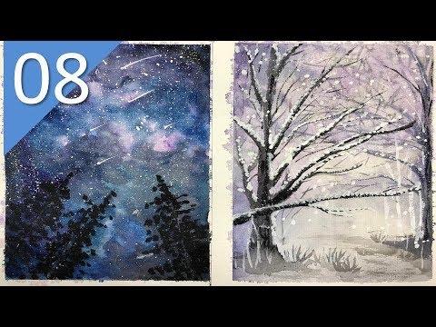 Vlog 8 | Vẽ tranh phong cảnh bầu trời đêm và phong cảnh mùa đông với màu nước