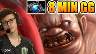 miracle dota 2 pudge 8 mins gg