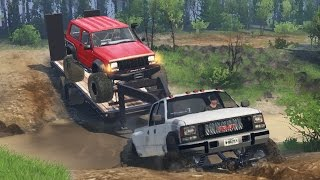GMC Dually 4x4 Towing Challenge! Hauling Jeep Cherokee, Off-Roading, Mudding! (SpinTires)