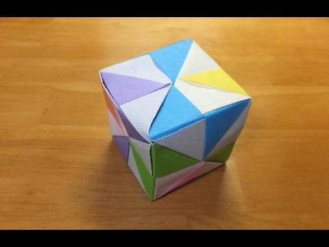 折り紙☆6枚を組み合わせて立体の四角形・サイコロユニット折り