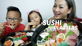 DELUXE SUSHI PLATTER MUKBANG | One Million Celebration Q&A + Give Away | N.E Let's Eat