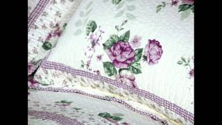Cotton 3pc Floral Vermicelli Quilted Patchwork Quilt Set(full/queen Size); Elegant Quilts