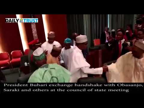 Buhari 'greets' Obasanjo, Saraki, others at Council of State meeting