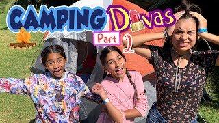 Camping Divas Pt 2 - Camp 24 Hours Challenge - Family Fun : Vlog It // GEM Sisters