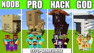 Minecraft Battle 5х5 UPGRADE HOUSE FAMILY BUILD CHALLENGE NOOB vs PRO vs HACKER Minecraft Animation