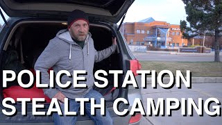 Stealth Camping Beside Police Station In SUV