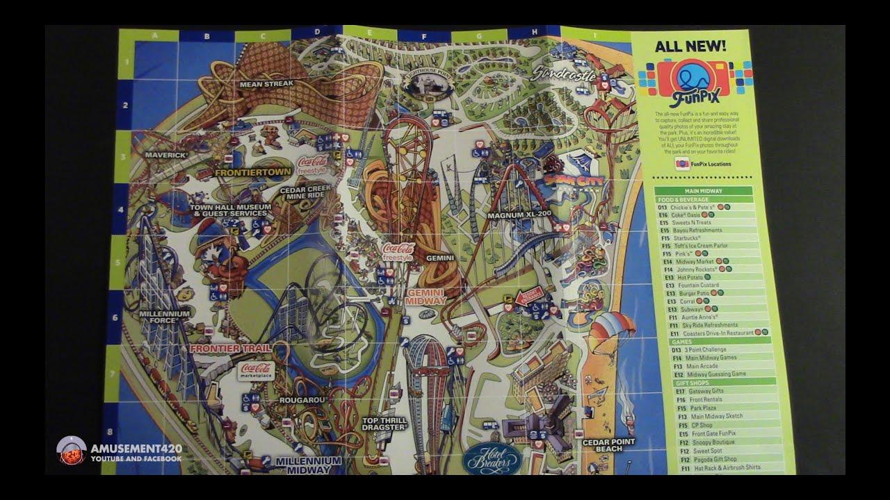 CEDAR POINT Printed Park Map 2016 - YouTube on