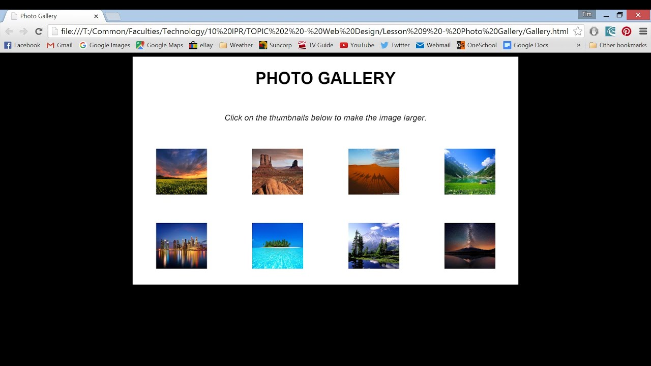 make a photo gallery using html css youtube