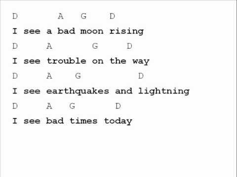 Creedence Clearwater Revival Bad Moon Rising Chord Chart Youtube