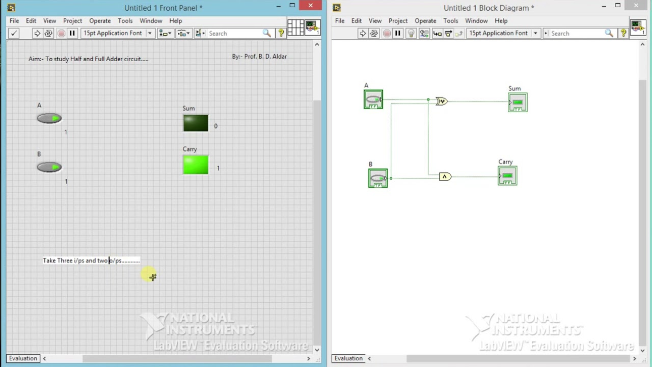 hight resolution of to study half and full adder circuit using labview