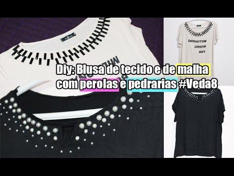 Diy  Customizando blusa de tecido e malha com perolas e pedrarias. Lila Pink 746063f46b5