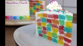 Regenbogentorte   bunte Schachbretttorte   Azo-freie DekoBack Farbe   rainbow cake   checkerboard