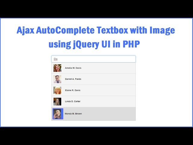 Ajax AutoComplete Textbox with Image using jQuery UI in PHP