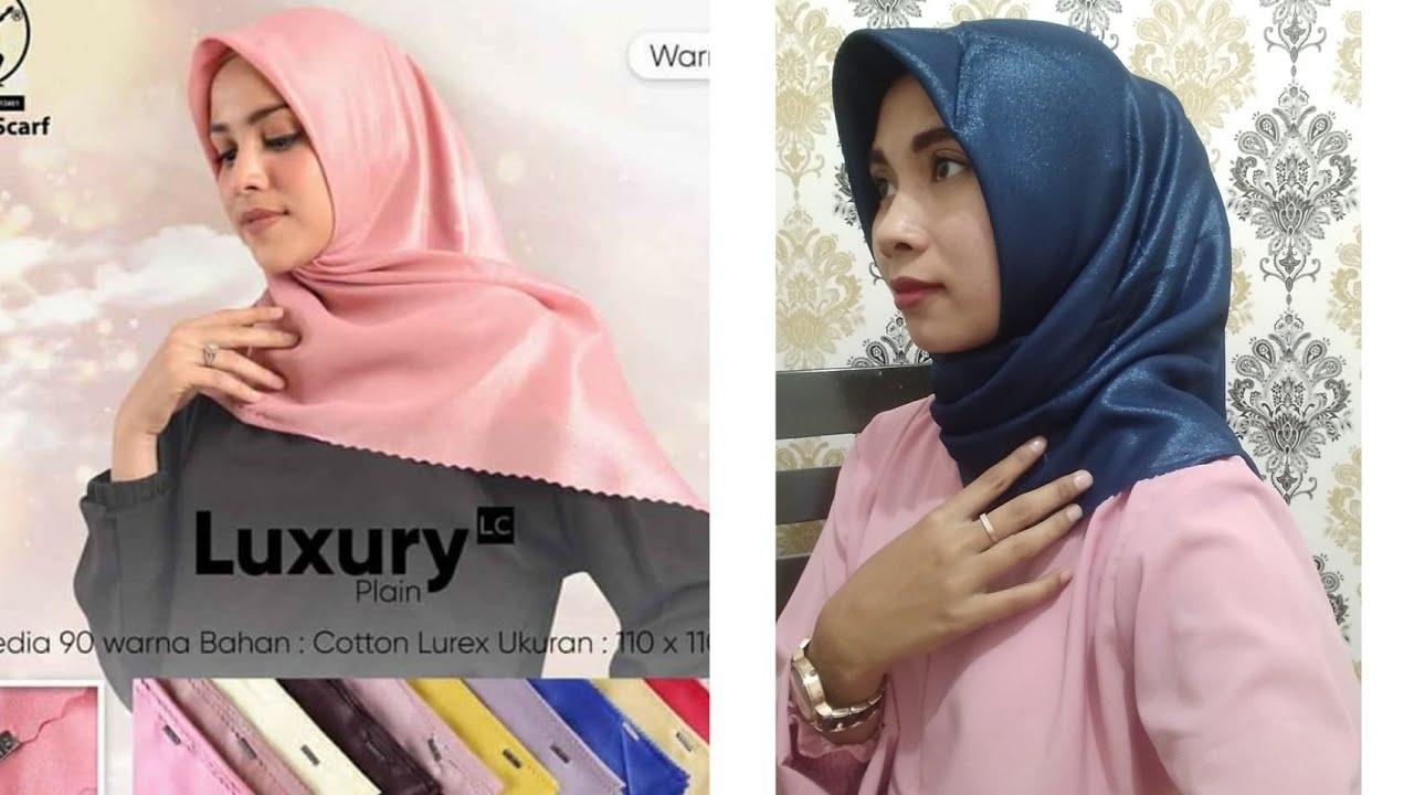 Review Hijab Segi Empat Umama Luxury Plain Lc Glamour Harga Murah Youtube
