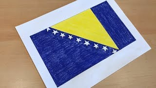 How to Draw the Bosnian & Herzegovinian Flag | Flag Speed Draw