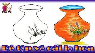 Bé tập vẽ cái lọ hoa theo mẫu | drawing flowerpot