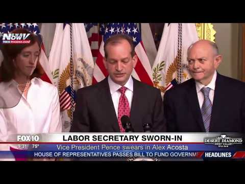 FNN: Labor Secretary Alex Acosta Swearing In Ceremony and 1st Speech (feat. Vice President Pence)
