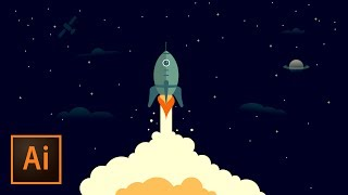 Rocket Ship Outer Space Illustration - Illustrator Tutorial | Educational