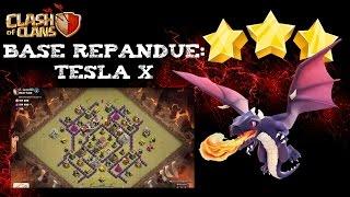 3 étoiles en Full Drag sur Base Répandue (Tesla X) - Hdv 8 - Clash of Clans