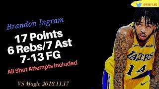 Brandon Ingram 17 Pts & 7 Ast,  7-13 FG all shot attempts included 2018.11.17 vs Magic!