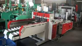 DOUBLE LAYERS 4 LINES T-SHIRT BAG MAKING MACHINE WITH AUTO PUNCHING SYSTEM