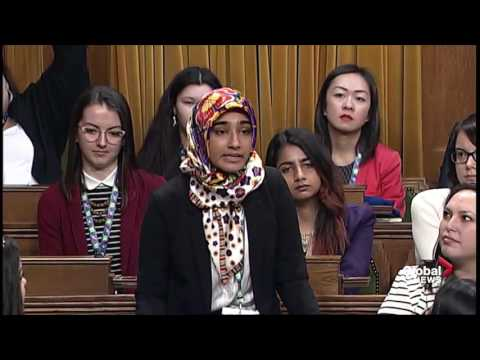 Justin Trudeau takes questions from young women in House of Commons on Internationa Women's Day