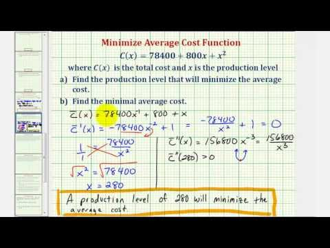 Ex: Find the Average Cost Function and Minimize the Average Cost