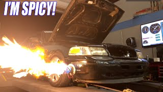 Our One Day Built (FIREBALL) TURBO Crown Vic Hits the Dyno! MORE BOOST!