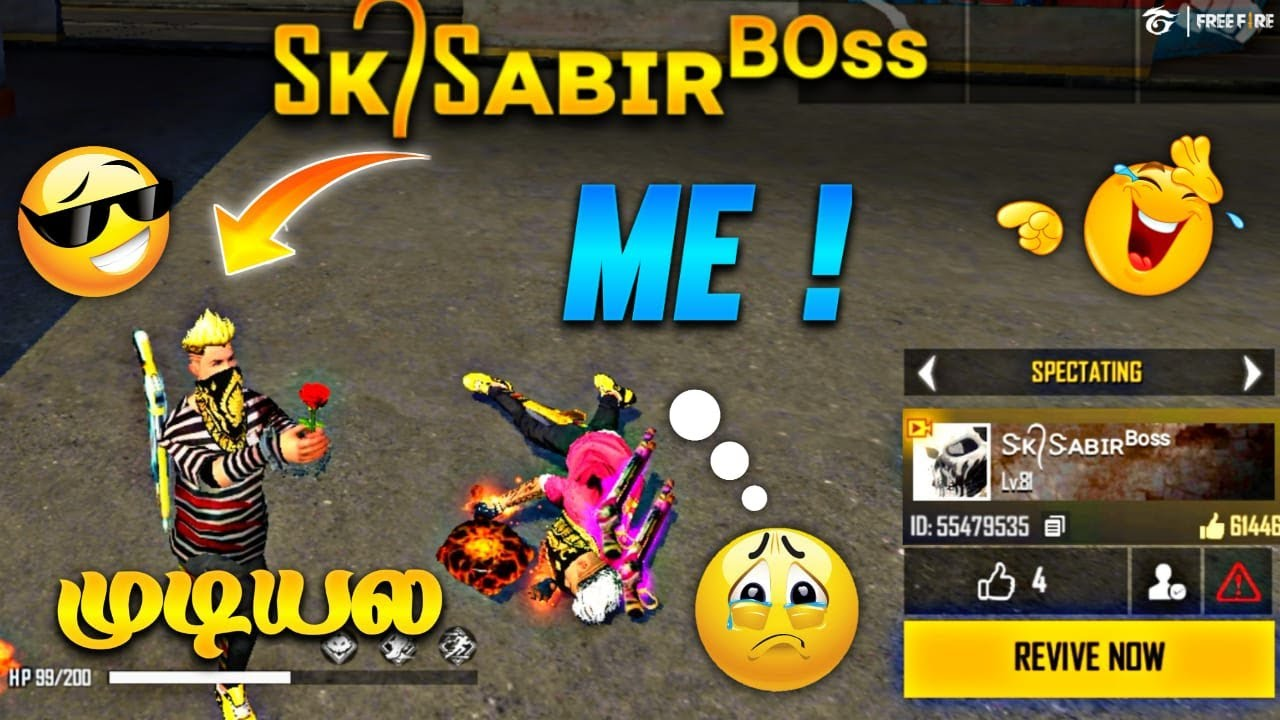 SK SABIR BOSS IN TRAINING GROUND || free fire full Attacking match in Tamil tips&tricks
