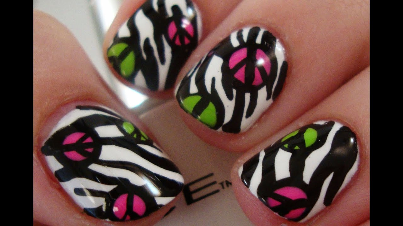 Simple Zebra Peace Nail Art Youtube