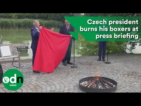 Czech president burns his boxers at press briefing