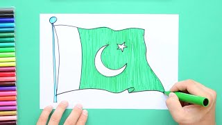 How to draw and color the Flag of Pakistan