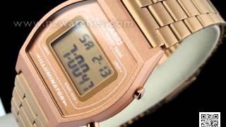 casio retro design led backlight rose gold digital watch b640wc 5a
