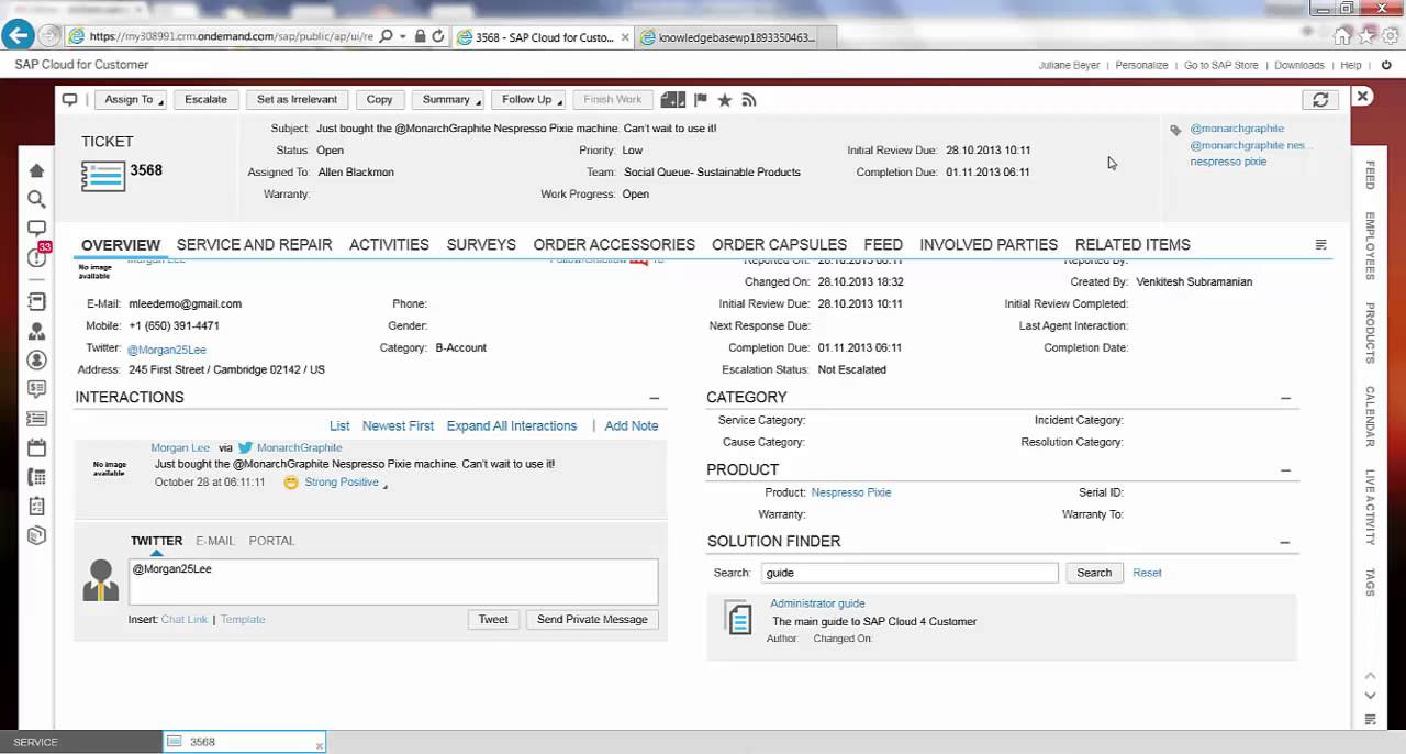TGP81 - SAP HANA Cloud Platform & Cloud for Customer Extensions: custom  Knowledge Base