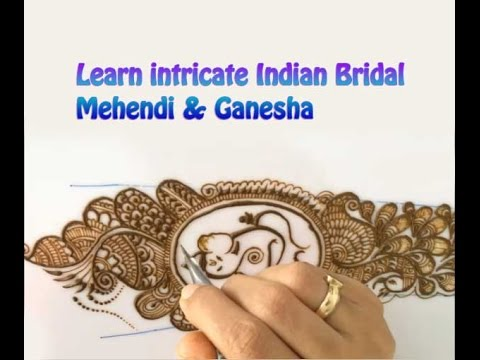 Traditional  indian intricate  bridal mehendi, Ganesha and Peacock episode 4