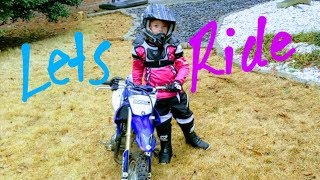 Dirt bike lessons for the girls on their new dirt bike.I hope this works!