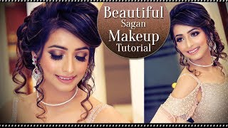 Beautiful Sagan Makeup | Step By Step Engagement Makeup Tutorial | Indian Brides | Krushhh By Konica