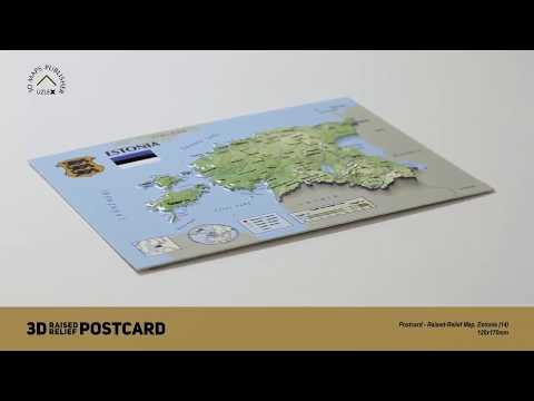 Postcard - 3D Raised Relief Map of Estonia