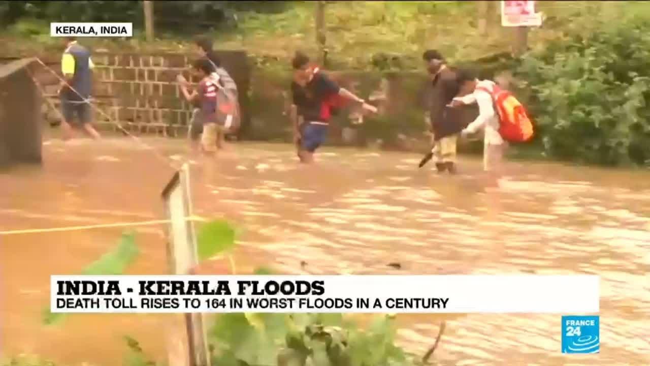 فرانس 24:Kerala floods: death toll rises to 164 in worst floods in a century