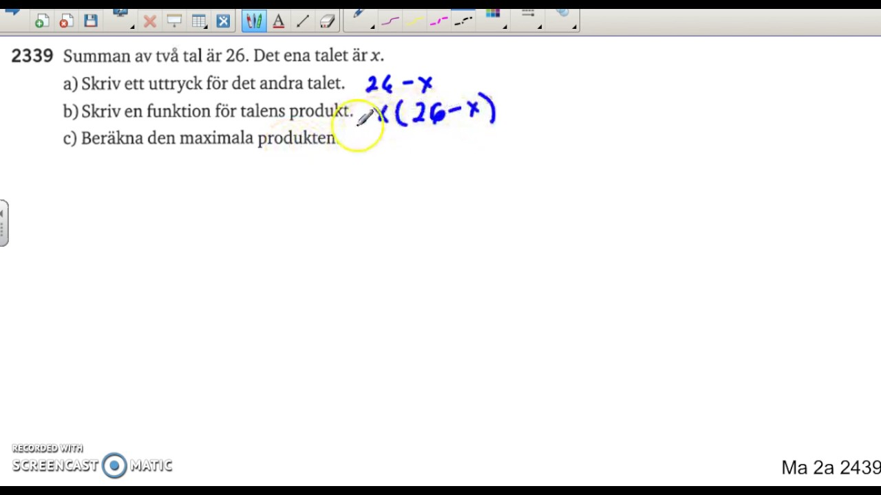 Matematik 5000 Ma 2b   Kapitel 2   Andragradsfunktioner   Tillämpningar   2339