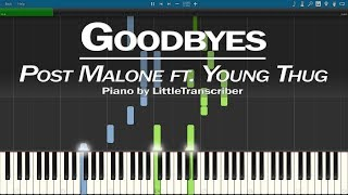 Post Malone - Goodbyes (Piano Cover) ft. Young Thug Synthesia Tutorial by LittleTranscriber