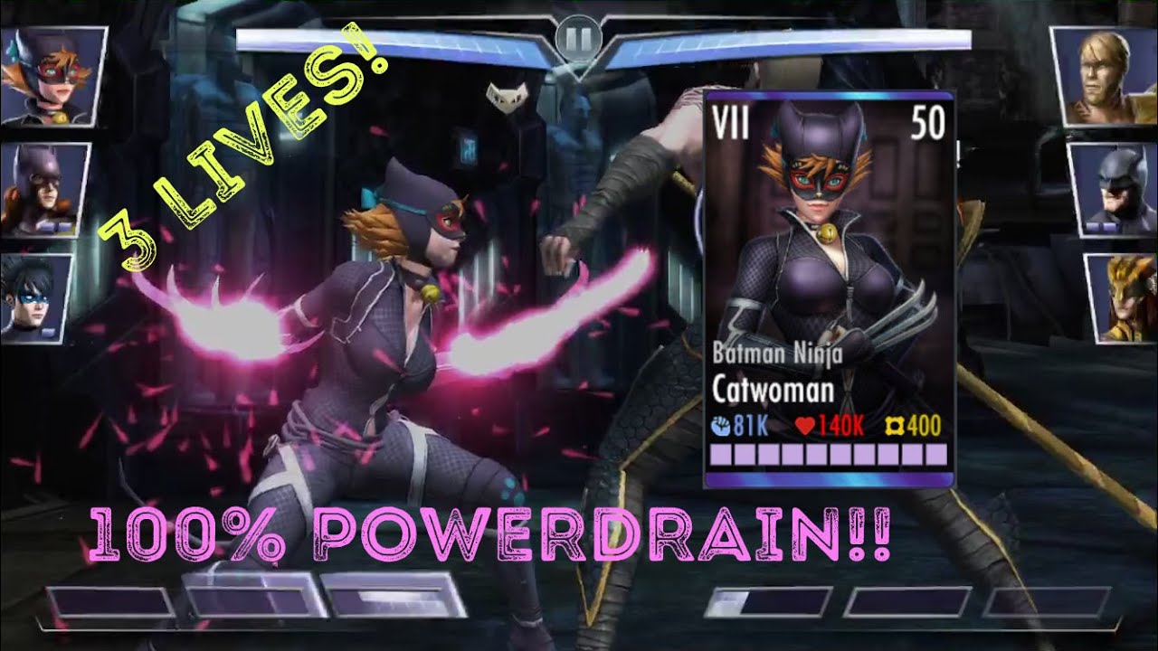 Metal Ninja Catwoman Is Broken 100 Powerdrain On Basic Attacks Youtube