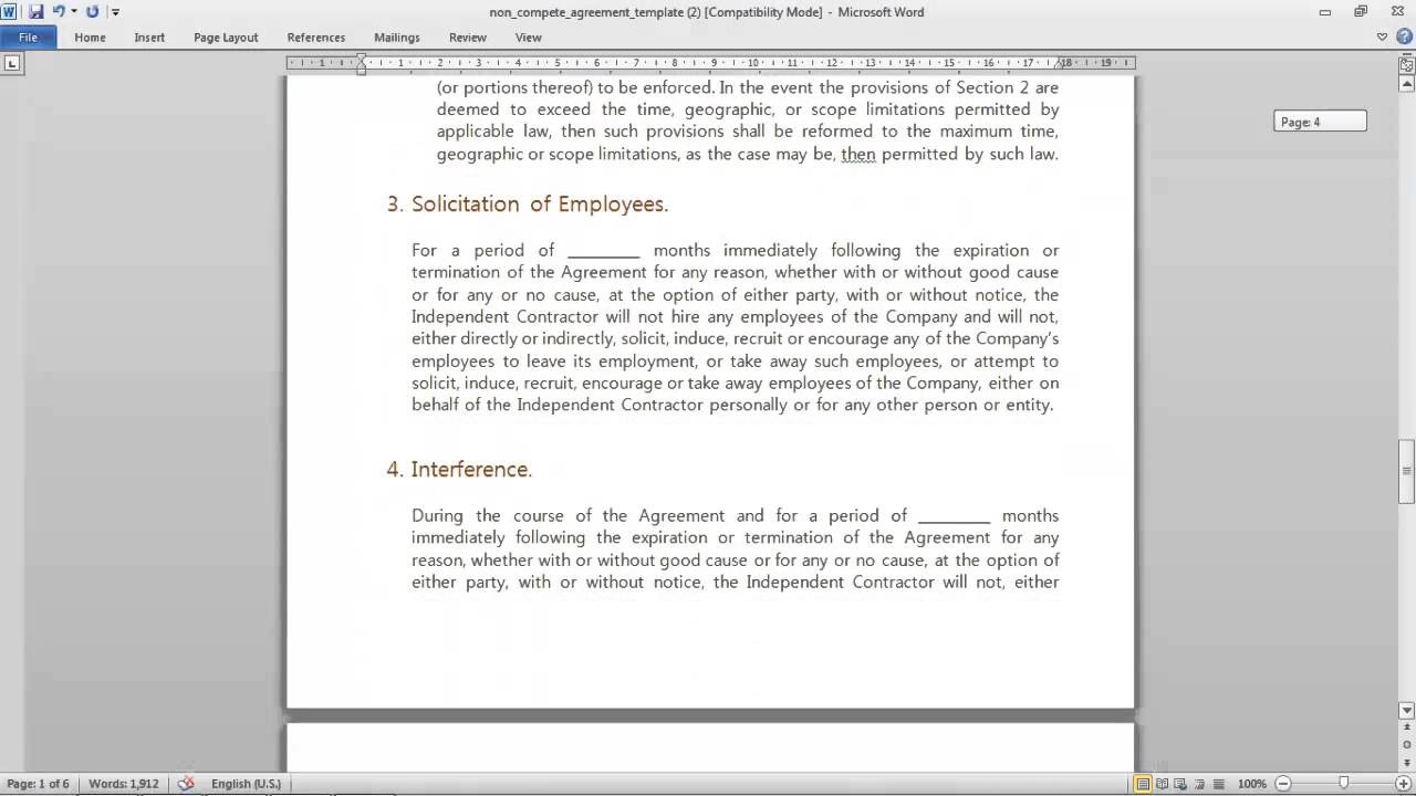 Non Compete Agreement Template Youtube