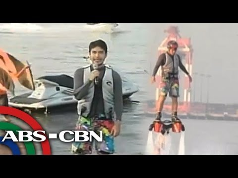 Atom Araullo tries flyboarding in Subic