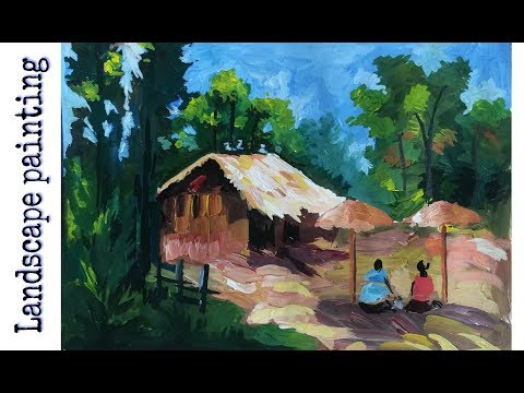 Landscape oil painting for beginners | beautiful scenery landscape