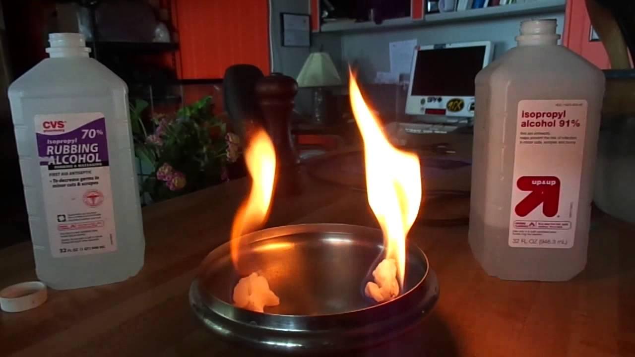 Burn Test 91 Isopropyl Alcohol Vs 70 Isopropyl