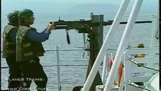 .50 cal heavy machine gun fired off the aft of a frigate - pure sound